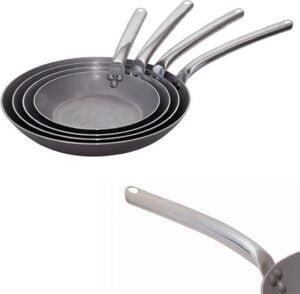 Stalen koekenpan van 32cm DeBuyer Carbone Plus Koekenpan met Rvs Handvat – Ø 32cm